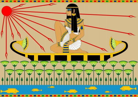 Illustration of an egyptian girl floating on the boat by the river  Vector