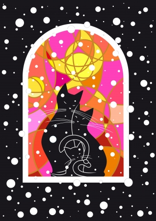 Vector image with cats family at snowy night  Vector