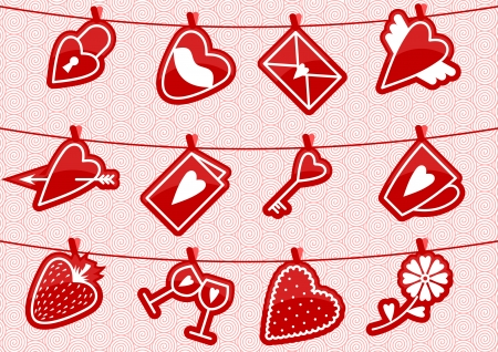 clothespeg: Vector illustrution with love icons hanging on the rope by clothespegs  Illustration