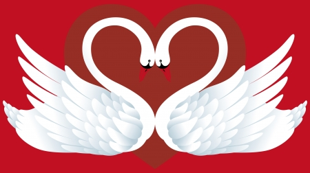 Abstract background with two swans and heart Stock Vector - 25237179