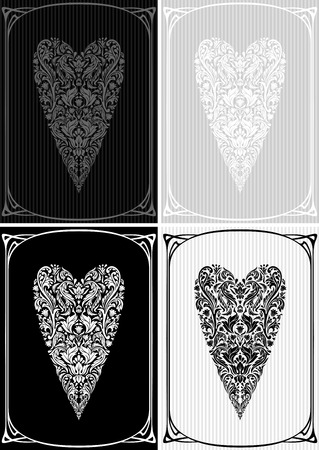 vintage frame vector: Vector vintage background with frame and heart on striped background