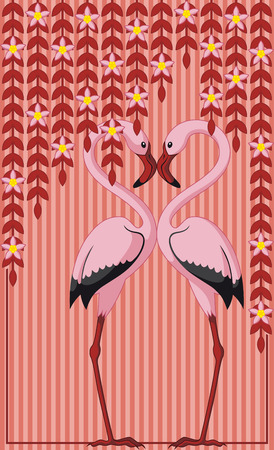 Abstract background with two pink flamingos in love  Vector
