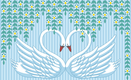 Abstract background with two swans in love  Stock Vector - 26078854