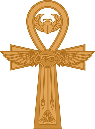 Illustration of egyptian cross Ankh isolated on white