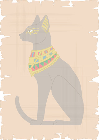 cat goddess: Illustration of Egyptian cat on papyrus - background for your text