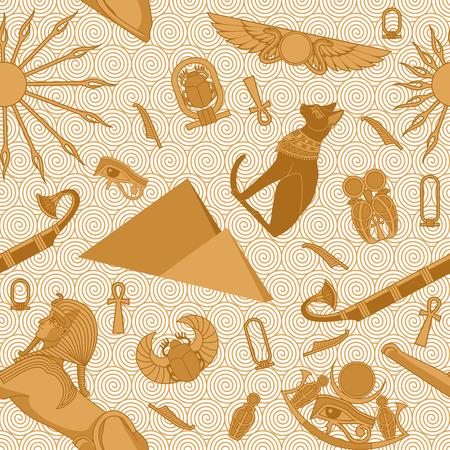 scarabeo: Seamless pattern Egitto con i serpenti, scarabeo, sole, ankh, Bastet, piramidi, sfinge, occhio di Ra e barca