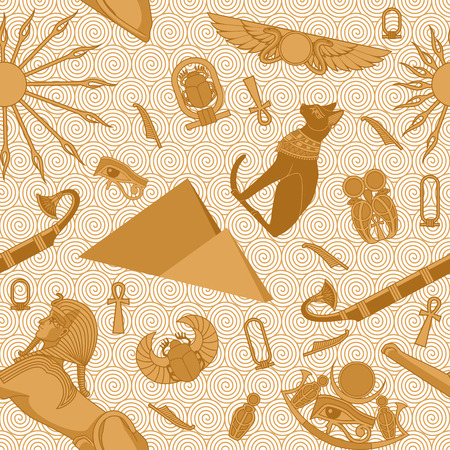 Seamless Egypt pattern with snakes, scarab, sun, ankh, Bastet, pyramids, sphinx, eye of Ra and boat  Illustration