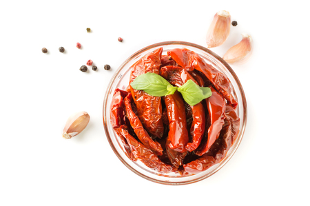 Italian dish - sundried tomato with oil and spice. Stock Photo