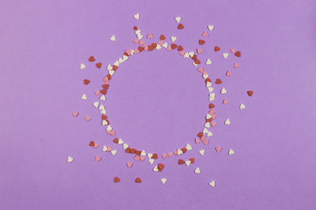 Paper flat composition, circle frame with heart on the ultra violet background for text. Standard-Bild