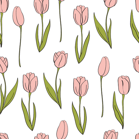 A  pink tulips pattern. Flower isolated elements.