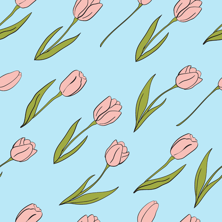 Vector tulips pattern with blue background. Flower isolated elements for Easter. For design, card, print or background.