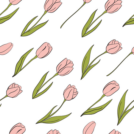 Mathers day pattern. Vector tulips elements. For design, print or background.