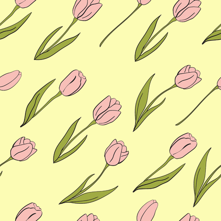 Vector tulips seamless pattern for Womens day. Flower isolated elements. For design, card, print or background.