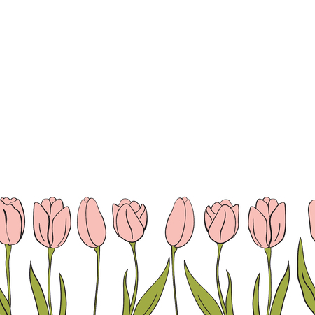 Tulips seamless banner for Mothers Day for design, card, print or background. Illustration