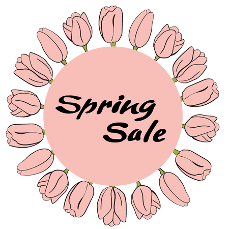 Spring sale banner. Flower isolated elements. For design, print or background
