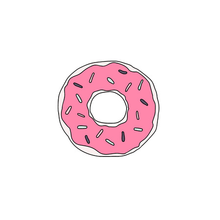 Sweet dessert. Vector donut illustration with glaze. Illustration