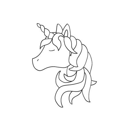 Vector unicorn illustration isolated on white background. Cute animal Illustration