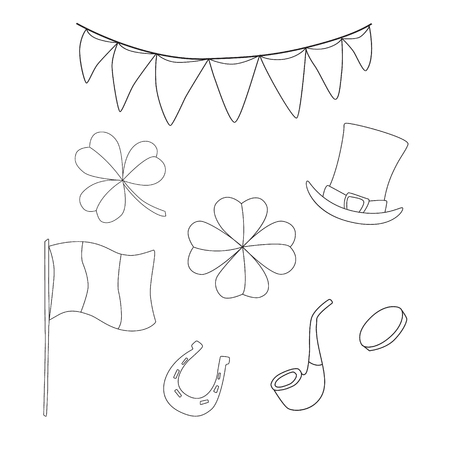 St. Patrick's day set of vector illustration for design or card. Ireland traditional holiday. Illustration