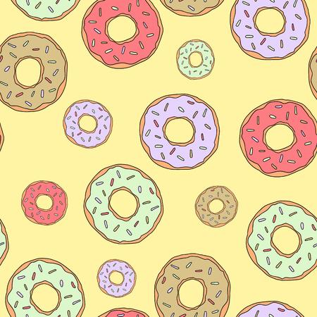 Illustration dessert. Vector glazed donuts pattern. For design, print or background.