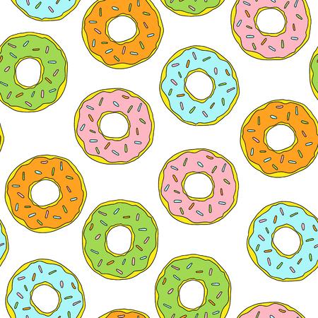 Vector glazed donuts pattern illustration dessert for design, print, or background.