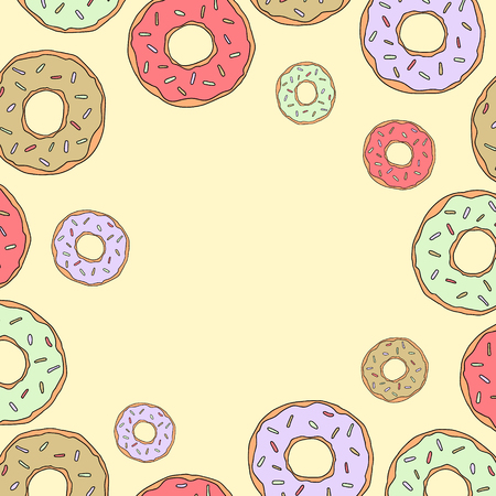 Donuts vector frame yellow background for social networks sweet illustration.