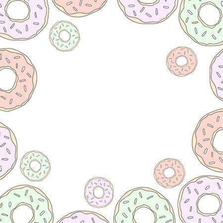 Sweet illustration donuts vector frame for social networks.