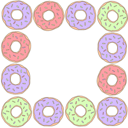 Donuts vector frame isolated sweet illustration for social networks.