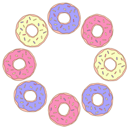 Frame with donuts for Happy birthday for card, poster, invitation. Vector illustration.