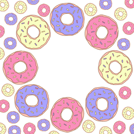 Vector illustration. Frame with donuts for Happy birthday for card, poster, invitation. Illustration