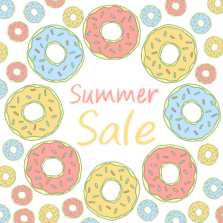 Summer sale lettering. Sweet illustration. Donuts vector frame, isolated. Background for social networks.