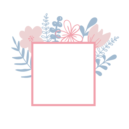 Floral vector frame with plants and leaves. Summer season For card, print.