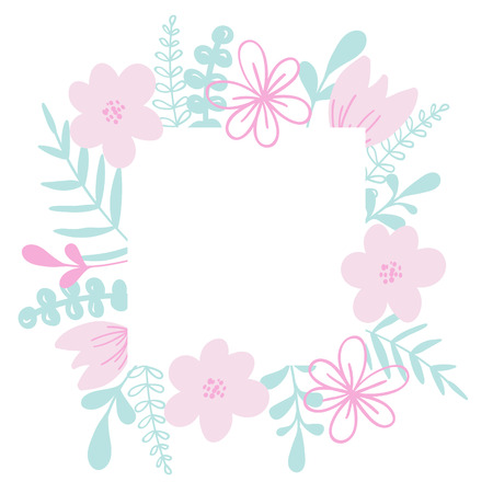 Romantic vector frame with flower and leaves. For wedding invitation card, print.