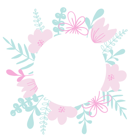 Round vector frame with flower and leaves. For wedding invitation card, print.
