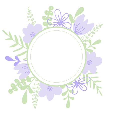 Round purple vector frame with flower and leaves. Illustration or wedding invitation card, print.