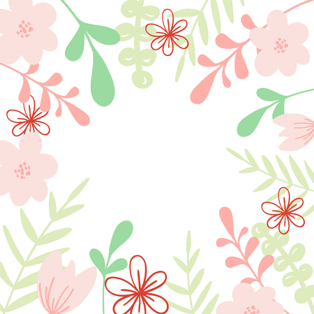 Pink vector frame with flower and leaves. Illustration for wedding invitation card, print.