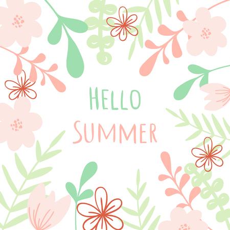 A Vector Hello Summer lettering. Floral illustration For poster, banner