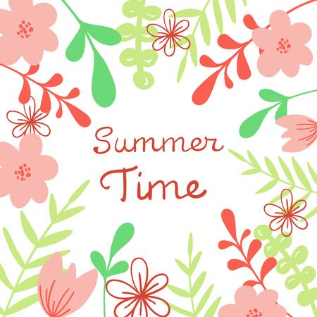 Summer time lettering floral illustration for poster, vector banner.