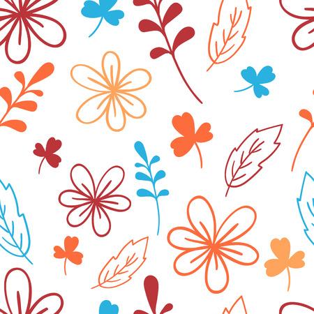 Seamless blue and orange floral pattern. Elegant vector illustration. For print, card
