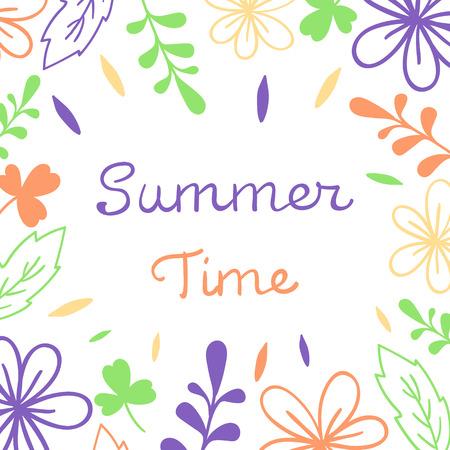 Summer Time lettering. Floral vector illustration. For poster, banner, print