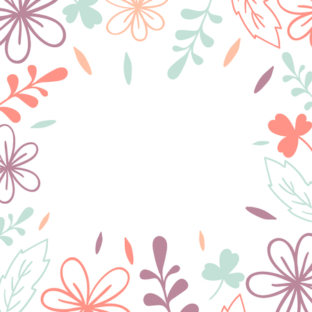 Vector frame. Pink and violet flowers and leaves. Illustration for wedding invitation card, print Illustration