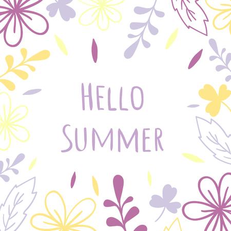 Hello summer. Ultra violet floral vector frame. Illustration or wedding invitation card, print