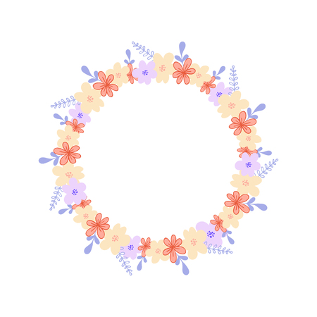 Round frame with wild flowers, herbs and leaves isolated on white background. For design, greeting cards, wedding, posters