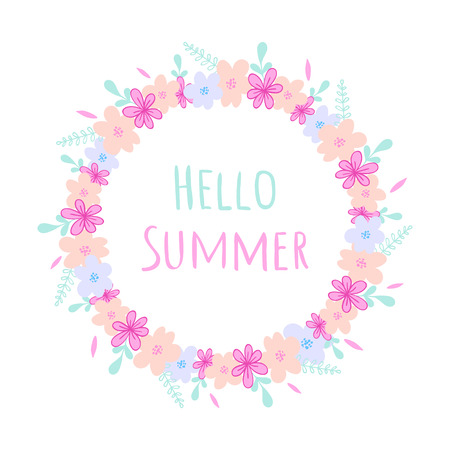 Hello Summer round frame with wild flowers, herbs and leaves isolated on white background. For design, greeting cards, wedding, posters