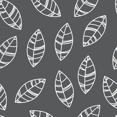 Grey seamless leaves pattern. Illustration for print, card, wallpaper Illustration