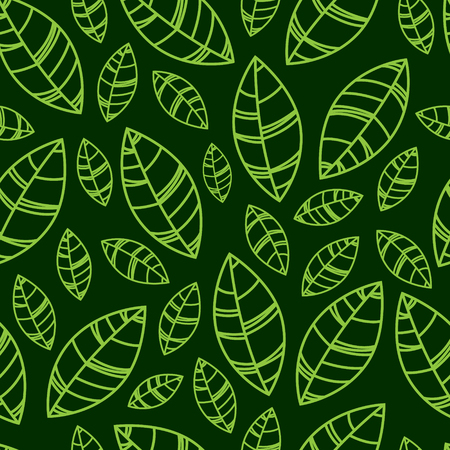 Green silhouette leaves Illustration. Seamless pattern. Ornament for print, card, wallpaper