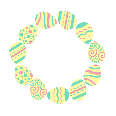 Easter holiday illustration. Round frame of colored eggs. Flat design for scrapbooking, print, banner