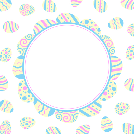 Illustration for scrapbooking. Easter holiday   Round frame of colored eggs. Flat design.