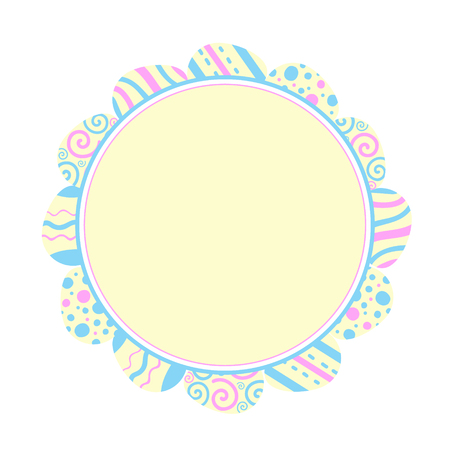 Illustration round frame of colored eggs. Easter holiday. Flat design Stock Photo