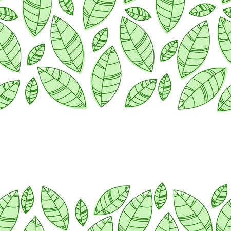 Green leaves frame. Ornament for print, card wallpaper