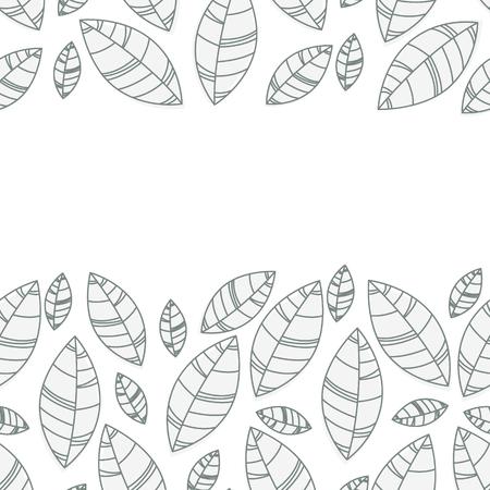 leaves frame on white background. Vector illustration.